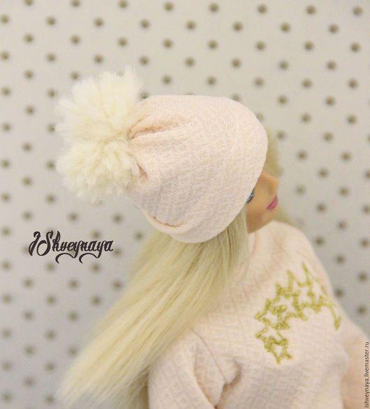 Одежда для кукол ручной работы. Шапочка с бумбоном для куклы. Ирина Швейная (IShveynaya). Интернет-магазин Ярмарка Мастеров. Шапочка для куклы