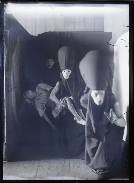 Glasgow School of Art glass plate negative showing students in costume. Early 1900s.