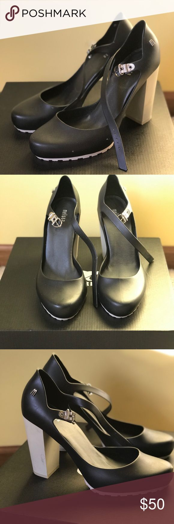 Melissa black shoes I got them online and got the wrong size for me.  They fit true to size and am a 8,5. That's why I only used them twice.  It has some spots products of the long stone been storage (see pics for details). Made in Brazil. I take reasonable offers. Melissa Shoes Heels