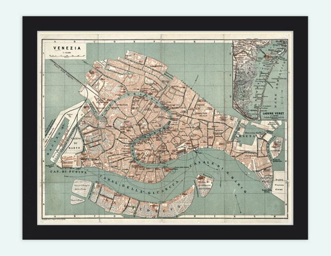 Vintage Old Map of Venice Venetia Venezia  Italy by OldCityPrints, $28.00