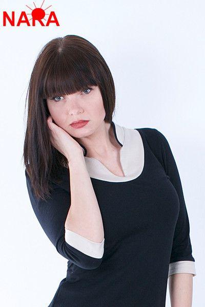Kurzarmblusen - Bequeme Büro-Bluse schwarz beige - ein Designerstück von Modeatelier-NARA bei DaWanda
