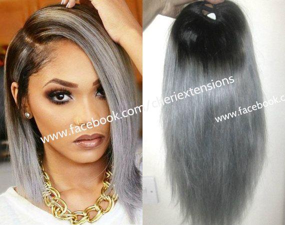 "Balayage Dip Dye 8A Remy Human Virgin Bodywave Ombre U Part Wig/Lace Front Virgin U Part Brazilian Wig 1b/Multi-tonal Charcoal Grey 1b/Multi-tonal Charcoal Grey ombre U Part Wig 14"" 300g  Wigs are coming out my bum this week omg help!!!    https://www.etsy.com/uk/listing/251954872/balayage-dip-dye-8a-remy-human-virgin #greyombrehair #greyhair #grayhair"