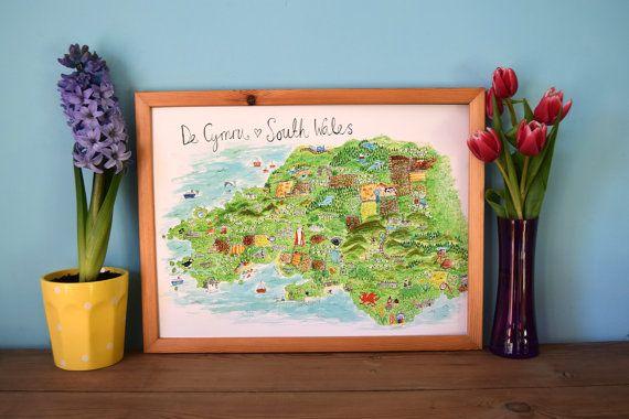 Map Print A3, Map Illustration, South Wales, De Cymru, Wales, Giclee