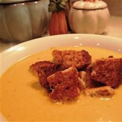 "Cream of Pumpkin Soup I ""I loved it! Even my picky 6-year old said it was good and the canned pumpkin makes it soooo easy."""