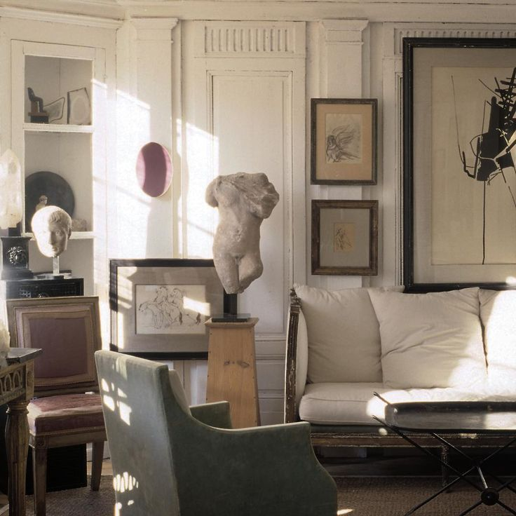 Neutral Living Room With An Eclectic Mix Of Modern And Antique Decor, Art,  And