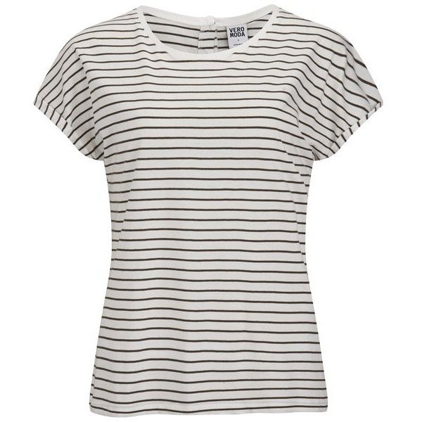Vero Moda Women's Stripe T-Shirt - Ivy Green ($8.47) ❤ liked on Polyvore featuring tops, t-shirts, shirts, tees, white, breton shirt, white t shirt, striped shirt, white stripes t shirt and stripe shirt