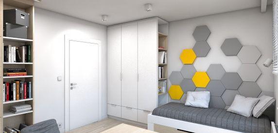 Wizualizacja. Panele Hexa w prywatnym mieszkaniu. Projekt A2 Pracowania Architektury