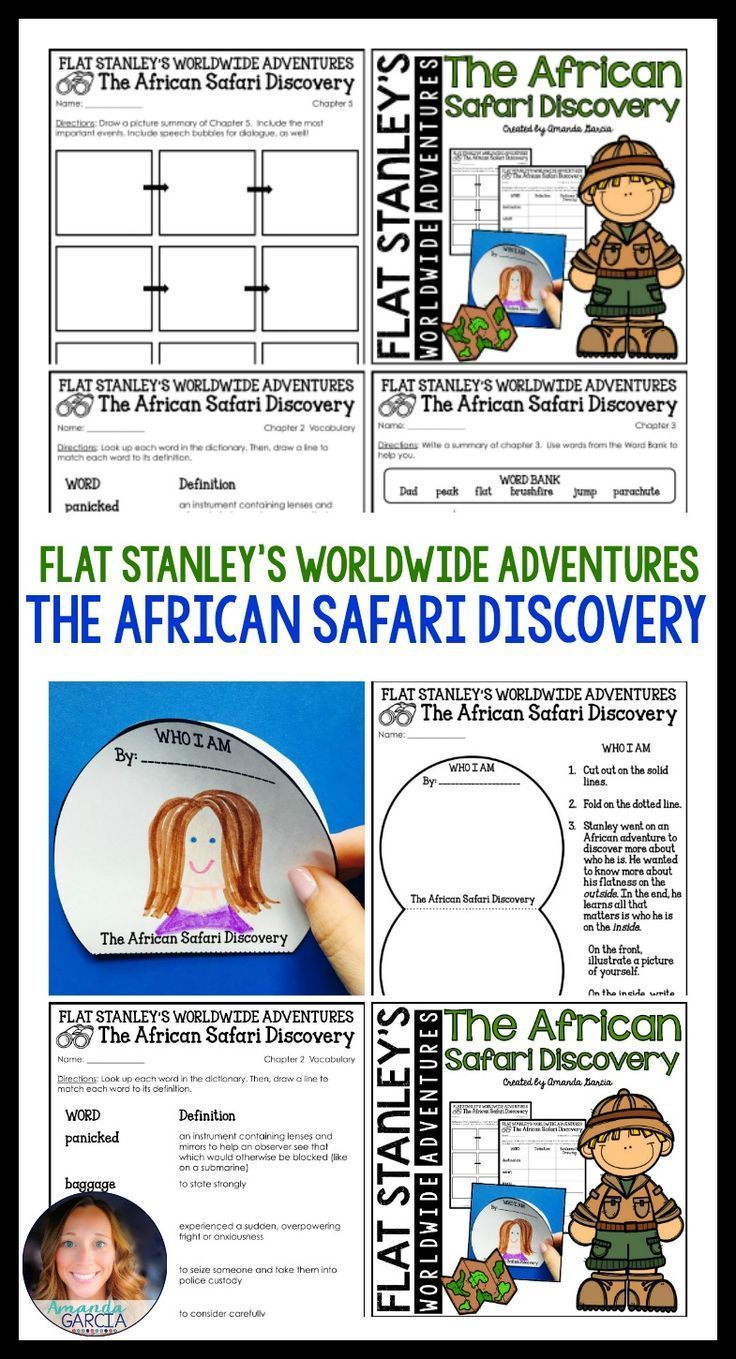 Kids love Flat Stanley! These fun, Common Core aligned reading responses with walk your students through each chapter of The African Safari Discovery! Your readers will use their reading skills and strategies to comprehend, work with vocabulary, and complete an interactive page at the end of the book. Answer key is provided to make things as easy possible for the teacher!