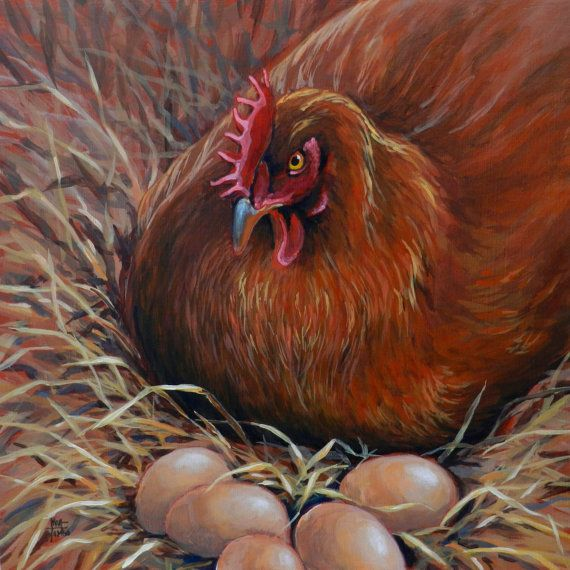 "Original Chicken and Eggs Fine Art Painting rendered in Oil and Acrylic - ""Which Came First?"""