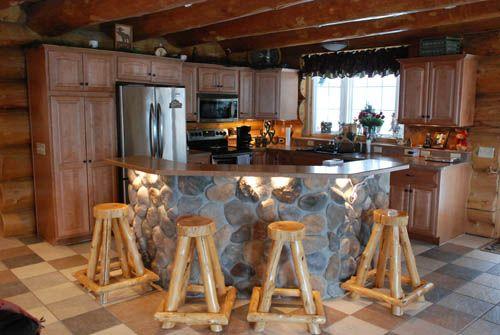 Heim log homes, Bemidji ~~ love the stone & wood
