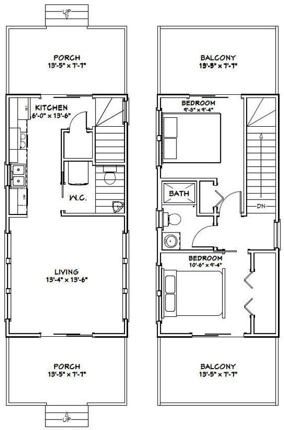 14×28 House — 2-Bedroom 1.5-Bath — 749 sq ft — PDF Floor Plan — Instant Download — Model 6A