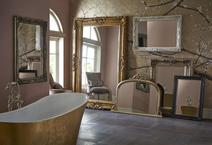 Heritage Bathrooms Statement Mirrors including the Bayswater, Chesham Grand, Archway and Edgeware and the new metallic Holywell Free standing Bath in Gold Effect