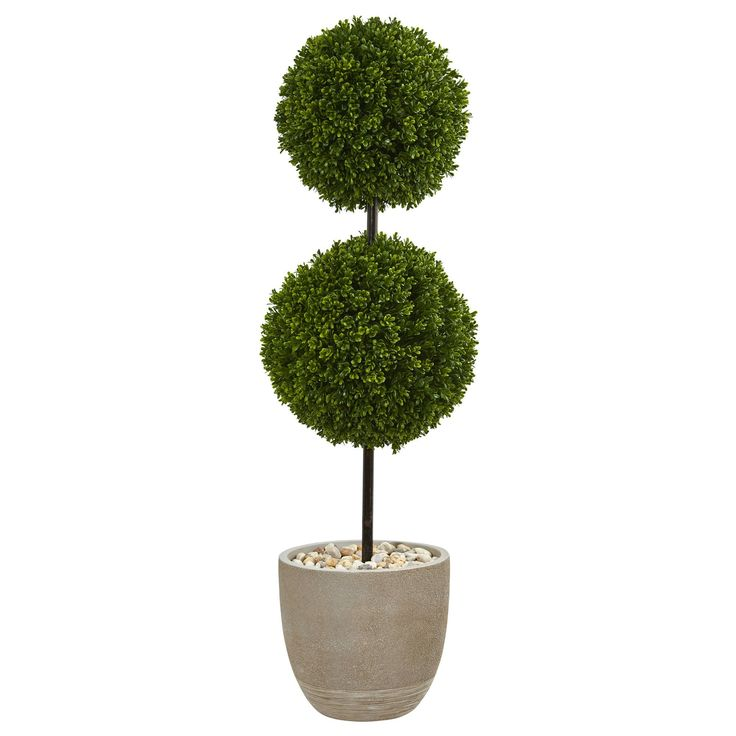Nearly 4' Boxwood Double Ball Topiary Artificial Tree in Oval Planter UV Resistant