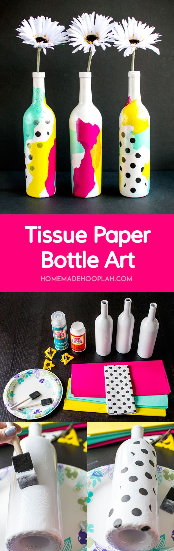 Tissue Paper Bottle Art! Jazz up your old bottles with this easy tutorial for creating beautiful tissue paper bottle art! | HomemadeHooplah.com