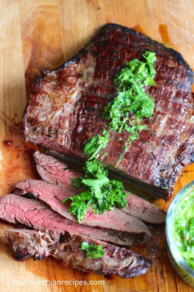 Steak with Chimichurri Sauce (Carne con Chimichurri) |mycolombianrecipes.com