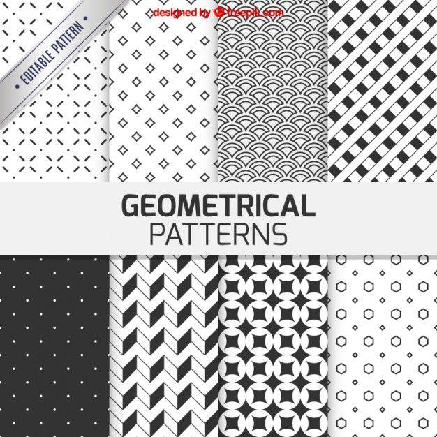 Padrões geométricos na cor preto e branco Vetor grátis