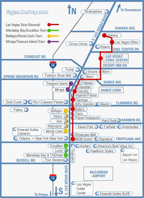 Avoid cabs if you can. Save some money by riding public transportation. Ticket prices for the monorail: single ride ($5), unlimited one-day pass ($12), unlimited three-day pass ($28). Seriously, I know it may not look far, but to walk from The Excalibur to the Wynn is 2.5 miles, so save your feet! | Vegas Hack