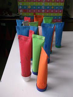 Tube tandpasta knutselen ven keukenrol of toiletrol