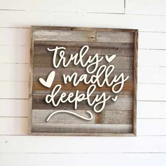 Truly madly deeply rustic reclaimed wood sign by harpergrayce