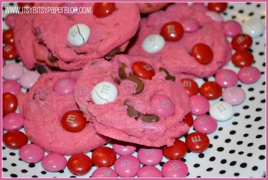 Valentine's Day Hot Pink Chocolate Chip Cookies. Recipe by Itsy Bitsy Paper/Cookie Time Tuesday
