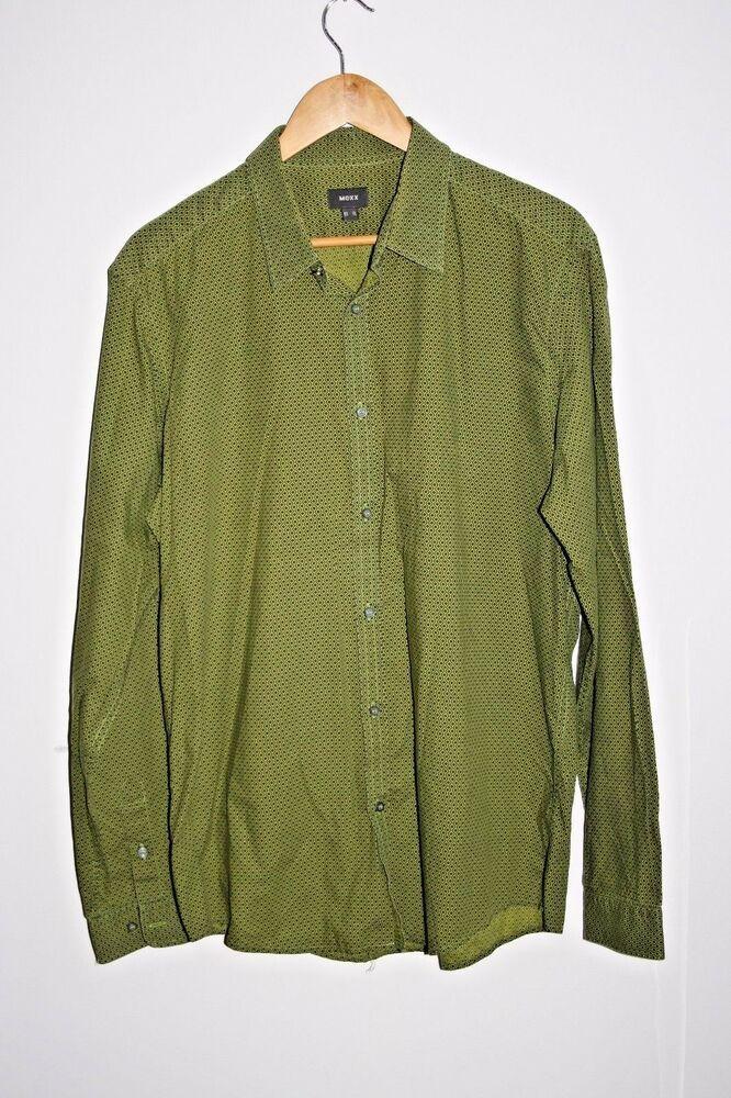 297067c45 MEXX Fashion Designer Green Men s Shirt 100% Cotton Geometric Pattern Size  XL