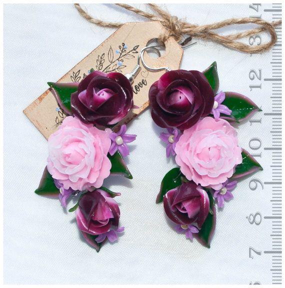 Rosa orecchini fiore orecchini rosa verde Marsala orecchini