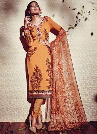 Radiant Rust Embroidery Work Print Georgette Churidar Suit http://www.angelnx.com/Salwar-Kameez/Churidar-Suits