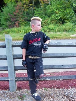 Homemade Punk Rocker Costume: The reason this Punk Rocker Costume came about is because at the time my son had a mohawk that he just wasn't ready to shave off yet..his baseball team
