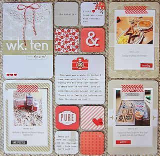Project Life: Week 11 - Bloglovin Red, kraft, & white ::Love these colors:: Like the idea that she divided couple of middle sections into 2*2 slots.