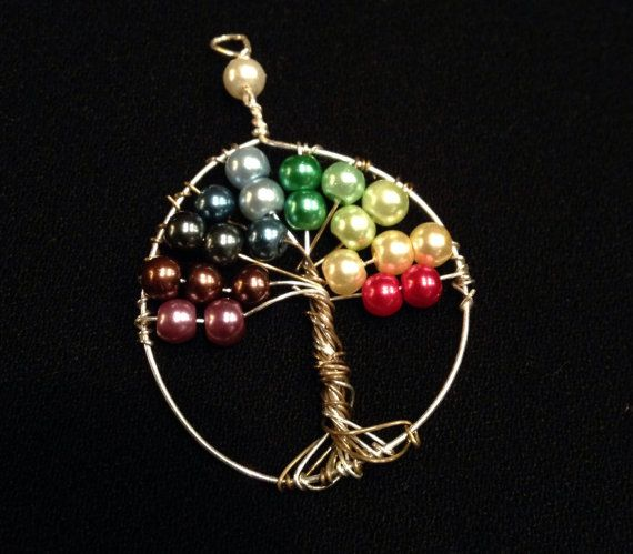 Rainbow wire wrapped tree of life pendant