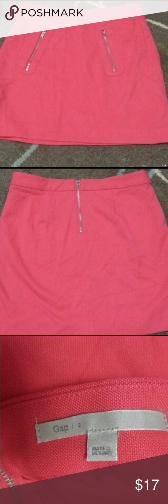 GAP Cute Pink Coral Skirt with Zippers Size 2 GAP Cute Pink Coral Skirt with Zippers Size 2. Great condition! Willing to Negotiate. GAP Skirts
