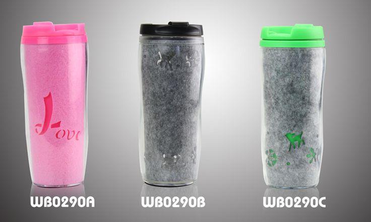 Water bottle with felt design  Description:     Material: PS+PP+FELT Size:19*7 Volume:350ml Big logo printing area  and laser cut logo workable www.idegroupigm.com