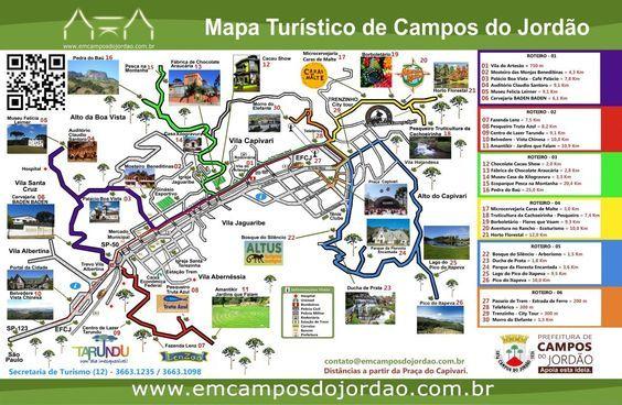 Campos do Jordão - Mapa de passeios de Campos do Jordão