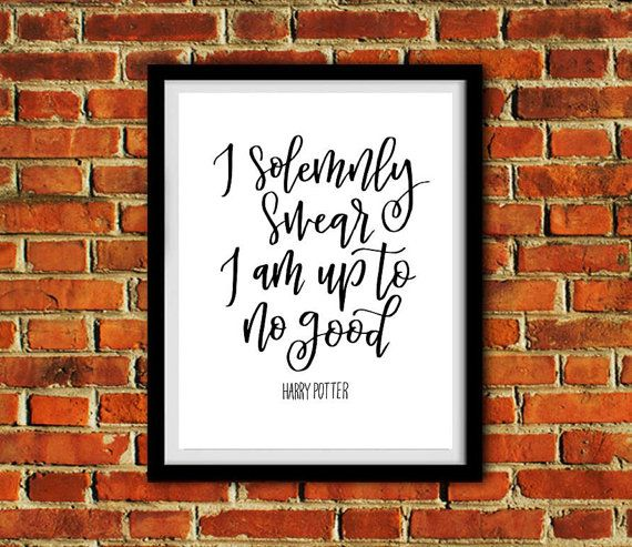 I loved reading the Harry Potter series as a child, and this was one of the most fun quotes from the books. I think its fun for kids--a little mischief inspired by the Weasley brothers. Its designed for an 8 1/2x11 print, but the white borders allows for an 8x10 frame. I print my digital files at FedEx on white card stock and love the result--very crisp and clean!  Hand-lettered by me and digitized in Photoshop.  1 PDF and 1 JPEG available for download.