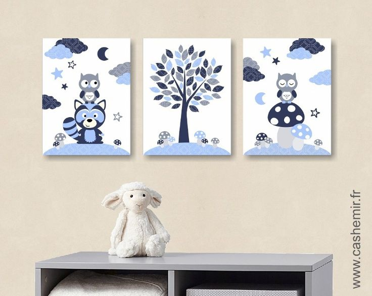 Affiche poster, Lot de 3 illustrations pour chambre d'enfant garçon, décoration chambre bébé, réf.8 bleu gris : Décoration pour enfants par cashemir