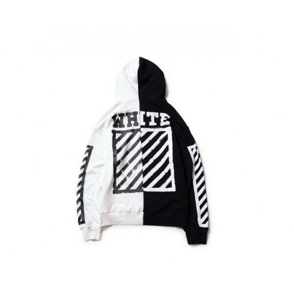 Off White Two Panel Zip Up Hoodie (Black/White) ! http:/