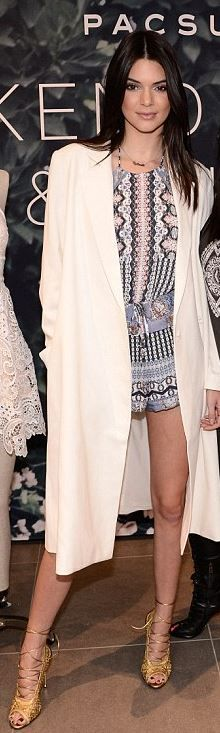 Kendall Jenner: Romper = PacSun  Shoes – Tom Ford