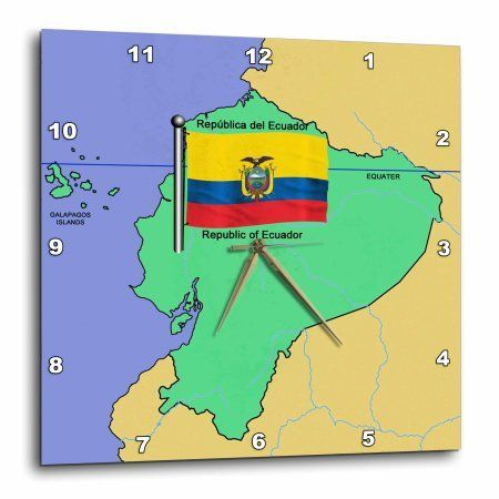 3dRose Map and Flag of Ecuador with Republic of Ecuador printed in both English and Spanish, Wall Clock, 10 by 10-inch