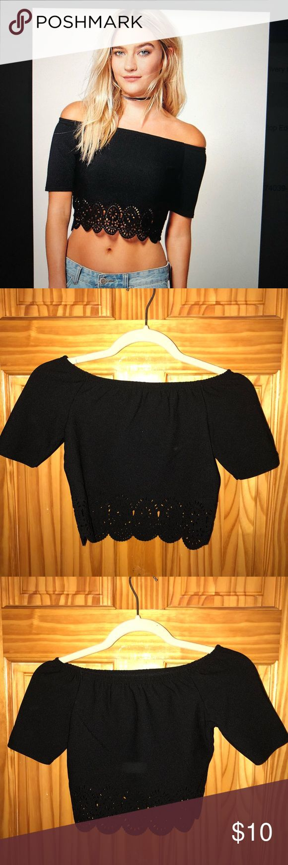 Sarah Laser Cut Scallop Edge Bardot Top A very cute off the shoulder scallop crop top!  Made in U.K.  95% Polyester 5% Elastane.  Fits a little tight.  UK Size 8, US Size 4. NEVER WORN THIS BEFORE but did take off the tag. Boohoo Tops Crop Tops