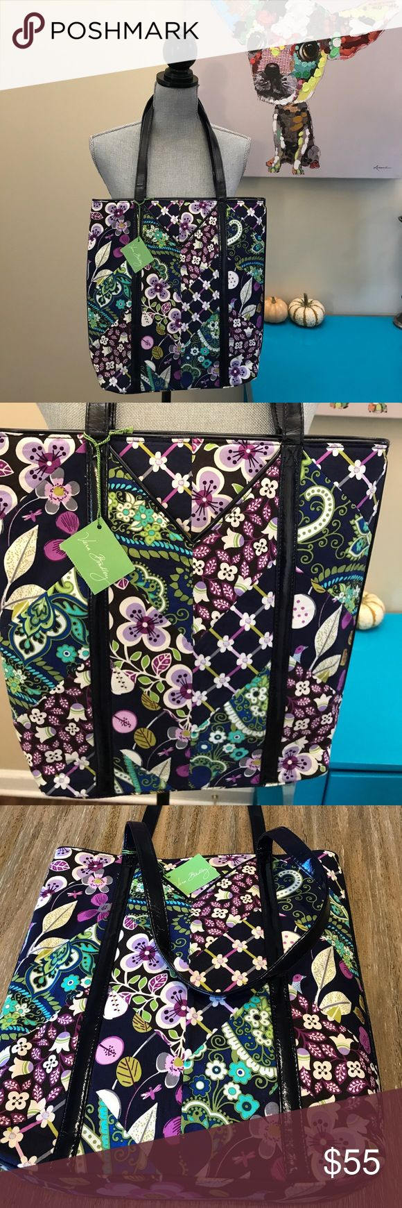 """Vera Bradley tote bag! Navy and purple patterned tote! NWT! Measurements: height 14""""Xlength 12"""" and depth is 3"""" and strap length is 11.5 Vera Bradley Bags Totes"""