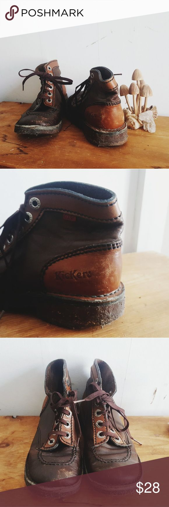Women's Kickers Leather Boots 37 Made in France. These run a bit small! Fit more like a US 6 or 6.5. They've been well loved but are really comfy and cute. Kickers Shoes Ankle Boots & Booties