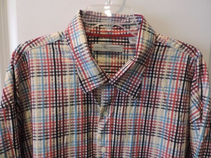 Greg Norman Classic Multi Colored Plaid Big & Tall Shirt SZ 3XB Mint Must See  #GregNorman #ButtonFront