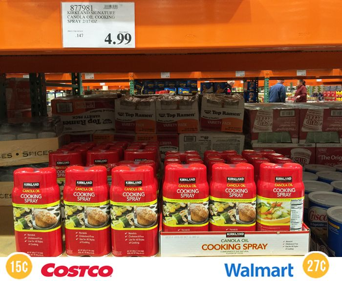 19 Unbeatable Deals You Can Only Find at Costco - Costco's canola oil cooking spray is so much cheaper than competitor prices, I don't even mess with coupons or shopping around. I just pick up a pack of these every year or two, and I know I'm getting a deal.  Costco price: 14.7¢ per ounce