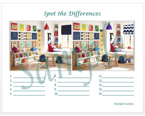 Spot the differences game sheets Child's room by MoonGloCreations
