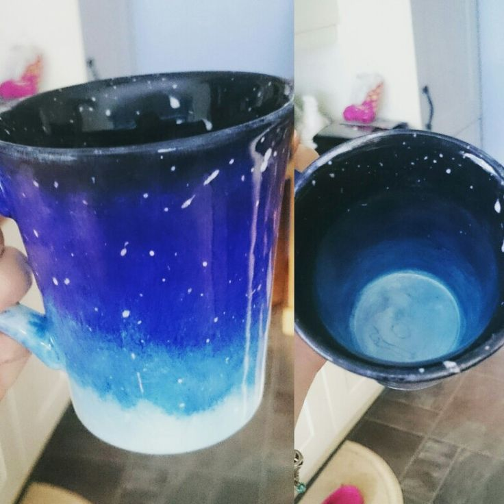 My proudest work to date! Galaxy ceramic pottery mug, hand painted with gradiating blues and white flecks for stars :)