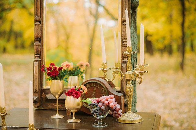 Винтажный шик, роскошная осенняя свадьба в лесу, декор места фотосессии