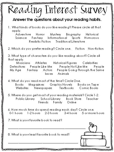 Ginger Snaps: Reading Interest Survey to use at the beginning of the year