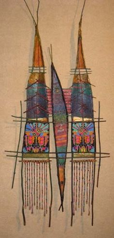 """Fill My Life With Your Eyes  31"""" x 72""""  sticks, paper, paint & pastel yarn/beads on beeswas/pine resin"""