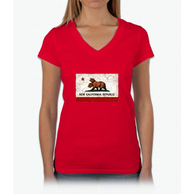 New California Republic Flag Womens V-Neck T-Shirt