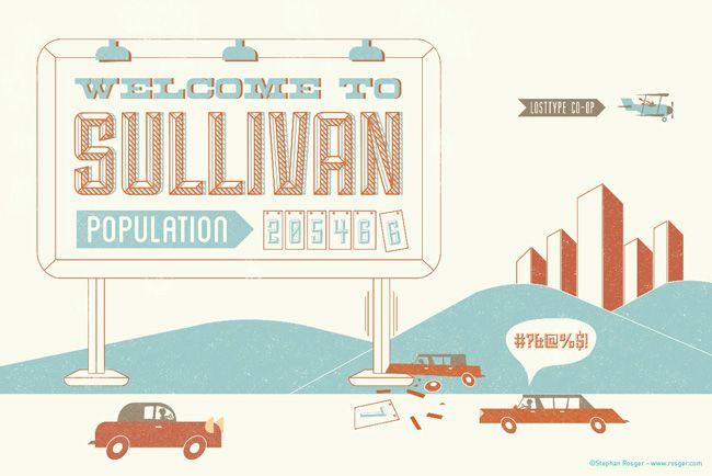"This weekend I was playing with the new ""Sullivan"" typeface created by Jason Mark Jones for Lost Type, and today Lost Type posted my work in the Sullivan ""In Action"" gallery.: Color, Fonts Fantastic, Free Fonts, Graphics Design, Fonts Finding, Fonts Note, 37 Fantastic, Fantastic Free, Fonts Design"